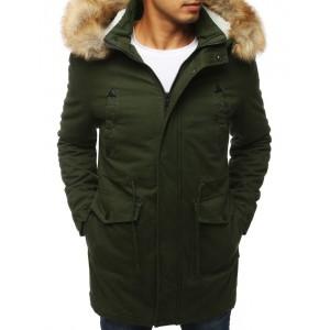 Pánska zimná bunda s kapucňou a kožušinou zelenej farby