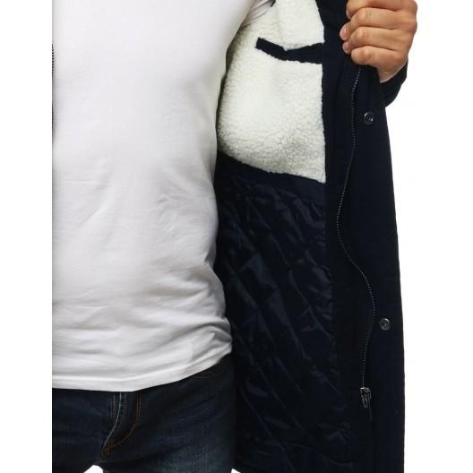 Tmavo modrá pánska zimná bunda s odnímateľnou kapucňou a kožušinou