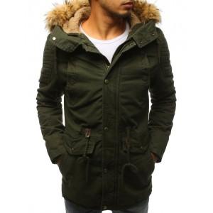 Dlhá zateplená pánska bunda na zimu s kožušinou