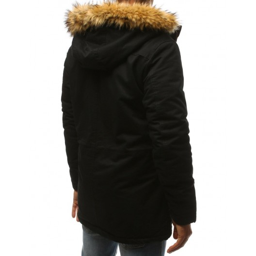 Štýlová pánska zimná bunda s podšívkou a odnímateľnou kožušinou
