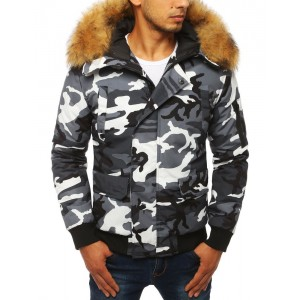 Pánska maskáčová bunda na zimu s kožušinou