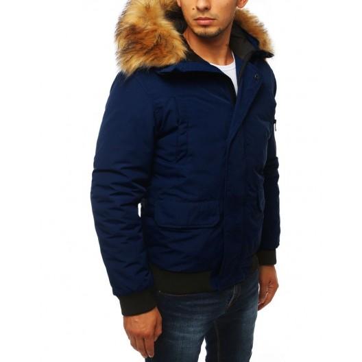 Moderná pánska zimná bunda s kapucňou tmavo modrej farby