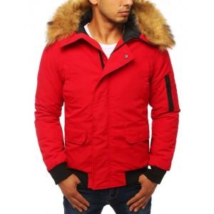 Červená pánska zimná bunda s hustou kožušinou