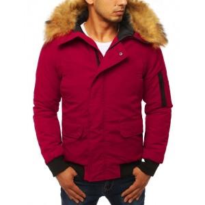 Bordová pánska bunda na zimu s kapucňou a kožušinou