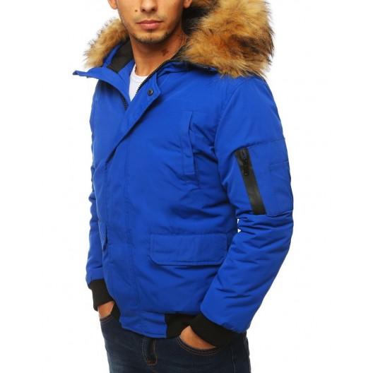 Modrá zimná bunda s hustou odnímateľnou kožušinou pre pánov