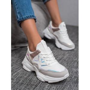 Dámske športové topánky na viazanie v bielej farbe