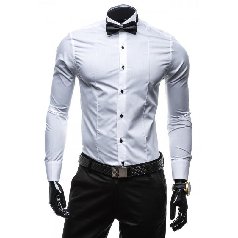 8381474056e3 Elegantná biela pánska košeľa s dlhým rukávom - fashionday.eu
