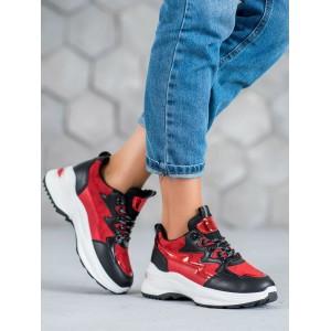 Štýlové tenisky pre dámy na platforme v červenej farbe