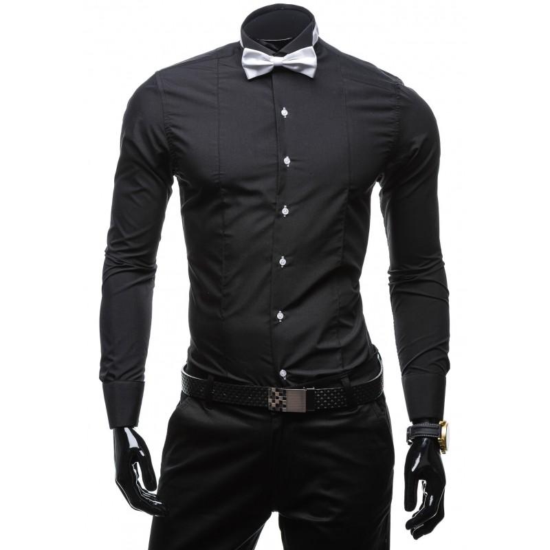 e0d50f8b653b Elegantná pánska košeľa čiernej farby s dlhým rukávom - fashionday.eu