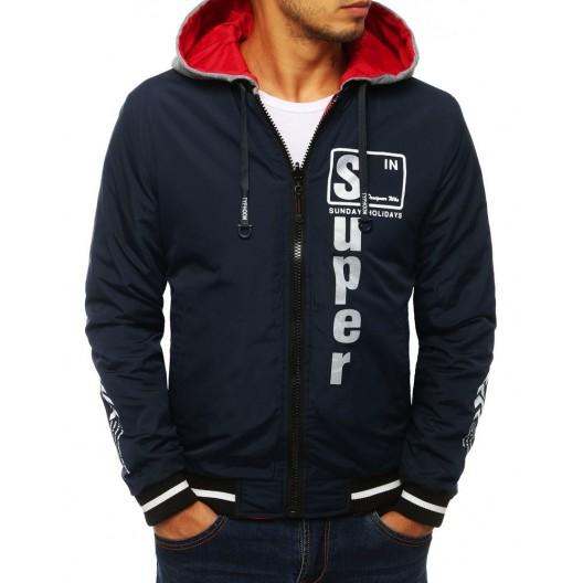 Tmavo modrá obojstranná bunda s kapucňou pre pánov