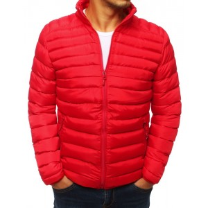 Trendová pánska prechodná bunda s elegantným prešívaním červenej farby