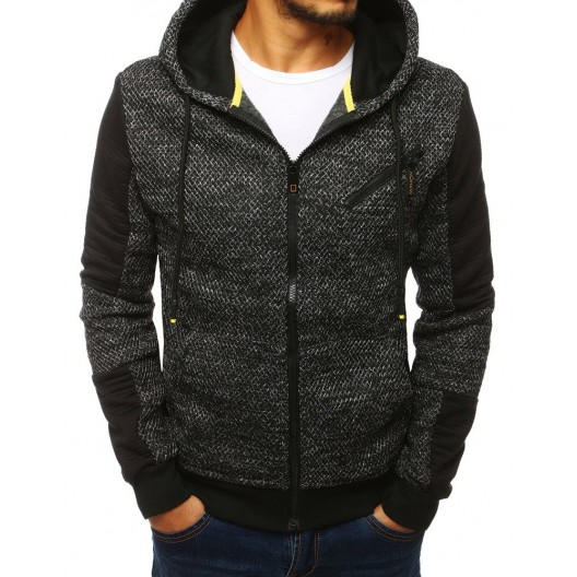 Pánska jesenná bunda čiernej farby s kapucňou a dlhými šnúrkami