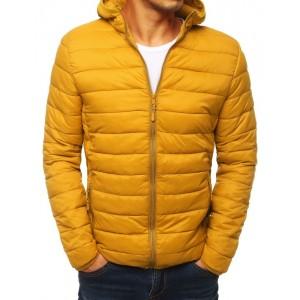Žltá pánska jesenná bunda s kapucňou a jemným prešívaním