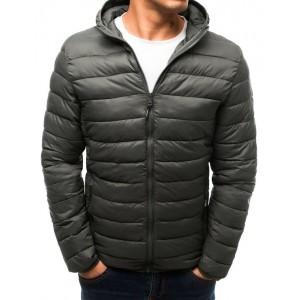 Pánska prešívaná bunda na jeseň s kapucňou sivej farby