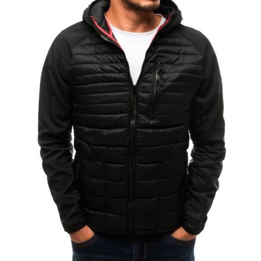 Čierna prechodná bunda pre pánov s tromi vreckami a kapucňou