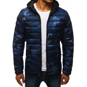 Pánska prechodná bunda s maskáčovým vzorom modrej farby