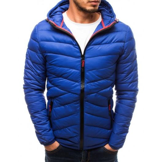 Modrá prešívaná bunda na jeseň s kapucňou