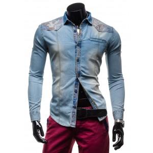 Pánska rifľová košeľa s dlhým rukávom a vzormi na ramenách