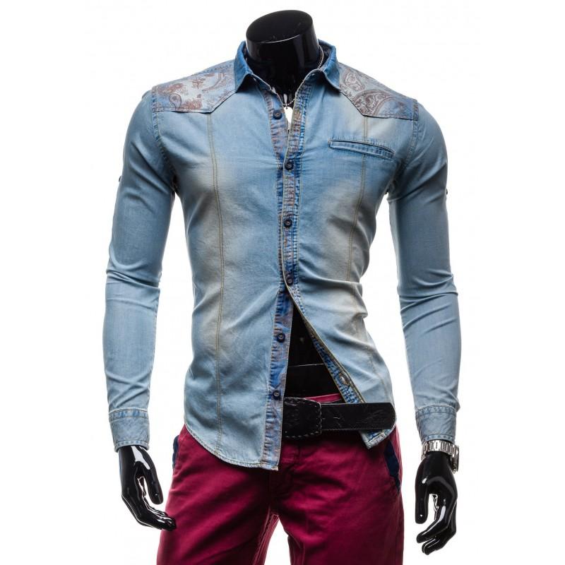 6e37ed20f36b Pánska rifľová košeľa s dlhým rukávom a vzormi na ramenách ...