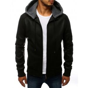 Pánska prechodná kožená bunda čiernej farby s kapucňou