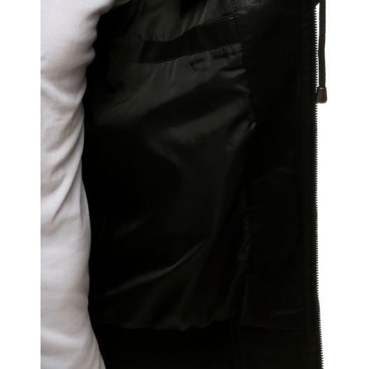 Trendová kožená bunda na zips so zapínaním na golieri
