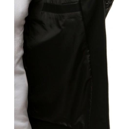 Pánska kožená bunda čiernej farby na jeseň
