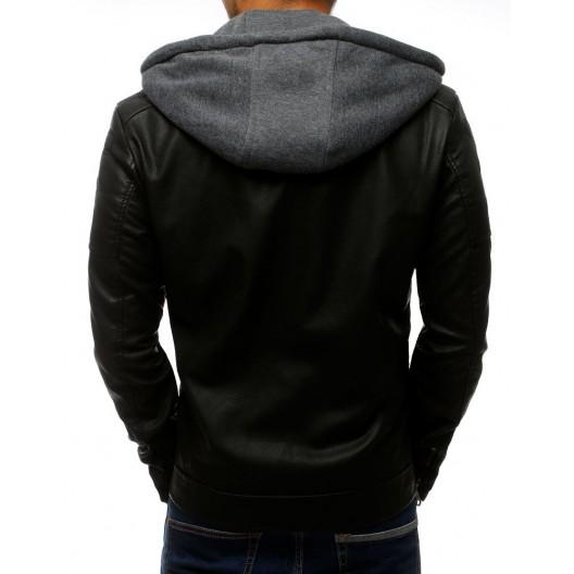 Čierna kožená bunda s odnímateľnou kapucňou pre pánov
