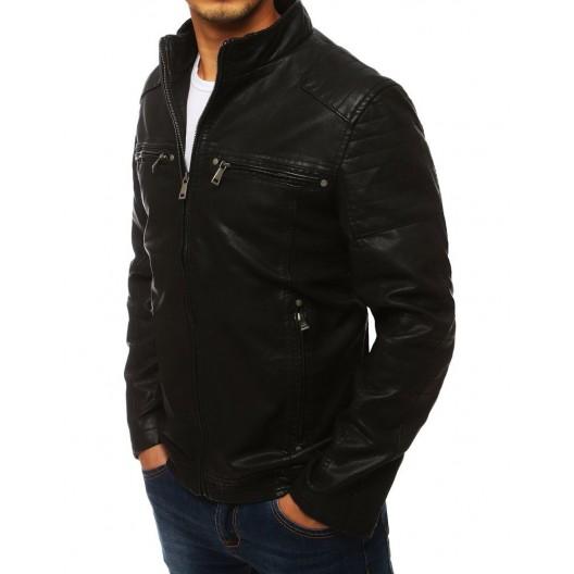 Štýlová pánska kožená bunda bez kapucne čiernej farby