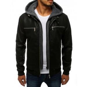 Prechodná kožená bunda s kapucňou čiernej farby