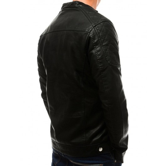 Pánska kožená bunda na jeseň s troma vonkajšími vreckami