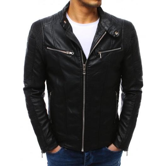Štýlová pánska kožená bunda bez kapucne na jeseň