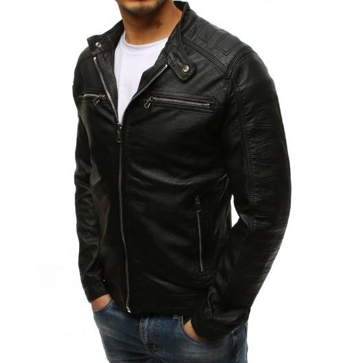 Klasická pánska kožená bunda bez kapucne čiernej farby