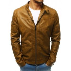 Svetlo hnedá pánska kožená bunda s odnímateľnou kapucňou