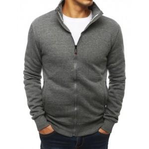 Jednoduchá pánska mikina na zips v sivej farbe
