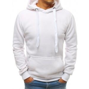Biela jednofarebná mikina s kapucňou pre pánov