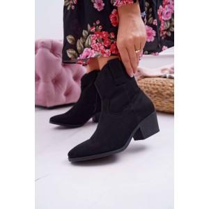Moderné dámske kotníkové semišové kovbojky v čiernej farbe