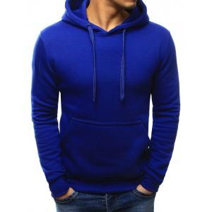 Pánska športová mikina modrej farby s kapucňou