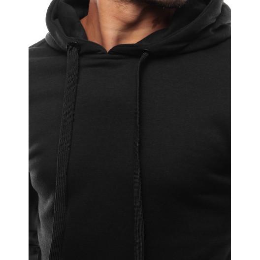 Čierna jednofarebná pánska mikina s kapucňou
