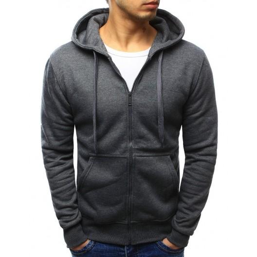 Sivá pánska mikina na zips s kapucňou