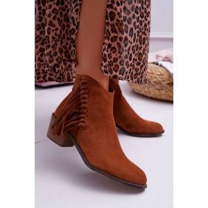 Módne hnedé semišové členkové topánky s ozdobnými strapcami