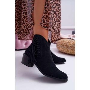 Módne dámske čierne kotníkové topánky na zips s trendy strapcami