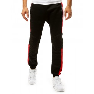 Čierne pánske športové tepláky s dvoma vreckami na zips