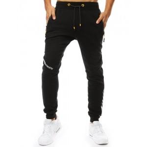 Čierne pánske tepláky s dvoma vreckami na zips