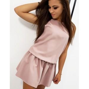 Spoločenské dámske mini šaty v pudrovo rúžovej farbe