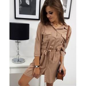 Dámske košeľové béžovo hnedé oversize šaty s opaskom