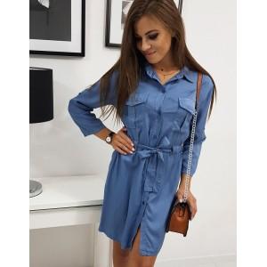 Štýlové dámske košeľové šaty modrej farby s opaskom