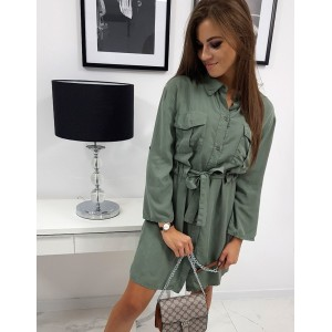 Moderné dámske army zelené šaty košeľového strihu