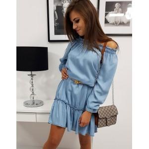 Trendy svetlo modré dámske šaty voľného strihu s dlhým rukávom