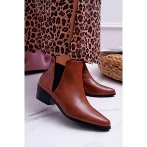 Krásne koňakovo hnedé dámske kotníkové topánky na zips