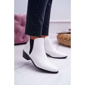 Moderné dámske biele členkové topánky so zapínaním na zips